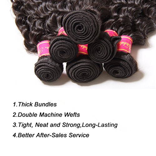 Nadula 6a Remy Virgin Brazilian Deep Wave Human Hair Extensions Pack of 3 Unprocessed Deep Wave Weave Natural Color Mixed Length 16inch 18inch 20inch by Nadula (Image #2)
