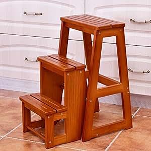 Amazon.com: New madera Paso Taburete plegable 3 Tier ...