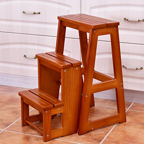 patcharaporn Wood Step Stool Folding 3 Tier Ladder Chair Bench Seat Utility Multi-functional by patcharaporn