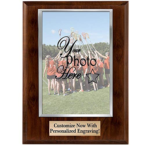 (Crown Awards Custom Photo Plaques - 7x9 Vertical Photo Frame Plaque with Silver Photo Cover and Personalized Engraving Prime)