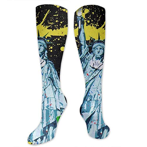 Splash Ink-Painting Statue Liberty Polyester Cotton Over Knee Leg High Socks Popular Unisex Thigh Stockings Cosplay Boot Long Tube Socks for Sports Gym Yoga Hiking Cycling Running Soccer -