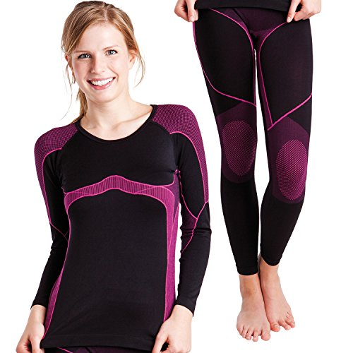 Damen Ski-, Thermo- & Funktionswäsche Set (Hemd + Hose) ohne störende Nähte von celodoro Schwarz / Pink Größe S / M