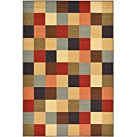 Color Block Geometric Checkered Patterned Area Rug, Colorful Geo Squares Theme, Rectangle Indoor Hallway Doorway Living Area Bedroom Carpet, Bright Fashionable Modern Design, Multicolor Size 5 x 66