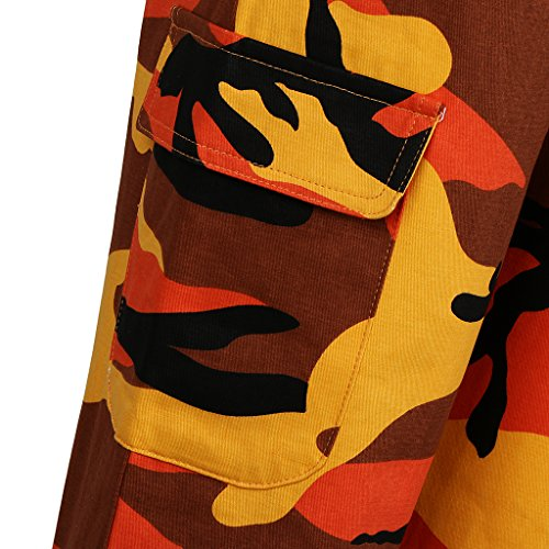 Fenteer Multi Pour Orange Femmes Camouflage Imprimé À Avec Pantalon poches FApwrfqFP