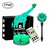 Easuntec Night Lights for Kids,Baby Night Light Giraffe + Flexible USB Light Flower (2 Pack),Adjustable 7 Colors with Timer Remote Control,Birthday Gift Idea for Kids (Giraffe+Flower)