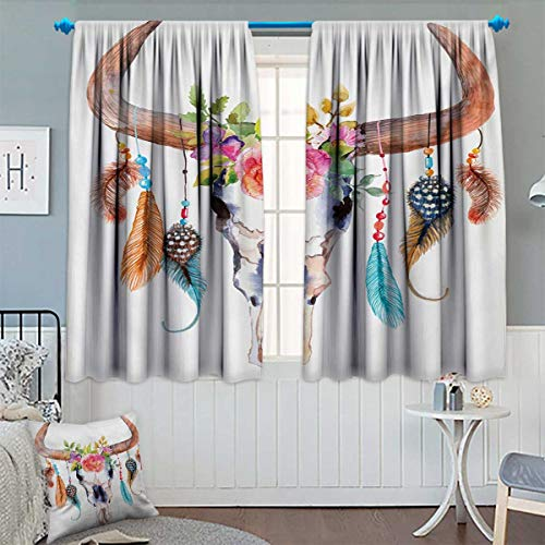 (Chaneyhouse Watercolor Patterned Drape for Glass Door Bull Skull with Hanging Flower Feathers Ethnic Inspired Native American Design Waterproof Window Curtain 55