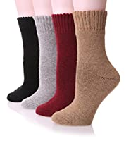 EBMORE Women's Soft Wool Warm Winter Thick Socks - 4 Pack