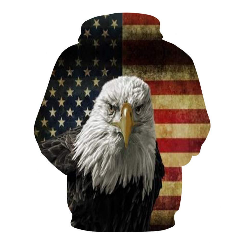 DLUJLflcljl Shabby American Flag Eagle Print Casual Hooded Sweatshirt