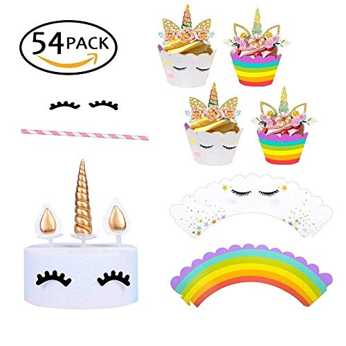 54 PCS! Handmade Polymer Clay Gold Unicorn Cake Topper/24 Double Sided Cupcake Wrappers and 24 Toppers/Cute Unicorn Lashes,Best Party Decoration for Baby Birthday,Baby Shower,Unicorn Theme Party