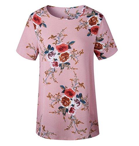 ZEZKT☼Floral Splice Printing Rundhals Tops Elegantes Oberteil Oversize Lose Sommerblusen Frauen Lose Kleider Damen Lässige Festliche Shirt Größe Beiläufig Unterwäsche Stehkragen Bodysuit Rosa