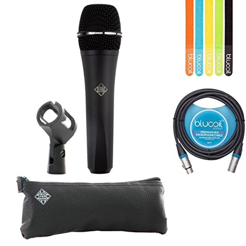 Telefunken M80 Black Handheld Dynamic Supercardioid Vocal Microphone - INCLUDES - Carrying Case, Blucoil 10' XLR Cable AND 5-Pack of Cable Ties ()