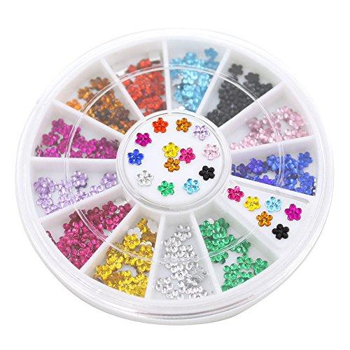 Polytree Fashion 12 Colors Nail Art Crystal Glitter Rhinestone Flower Manicure Wheel Studs