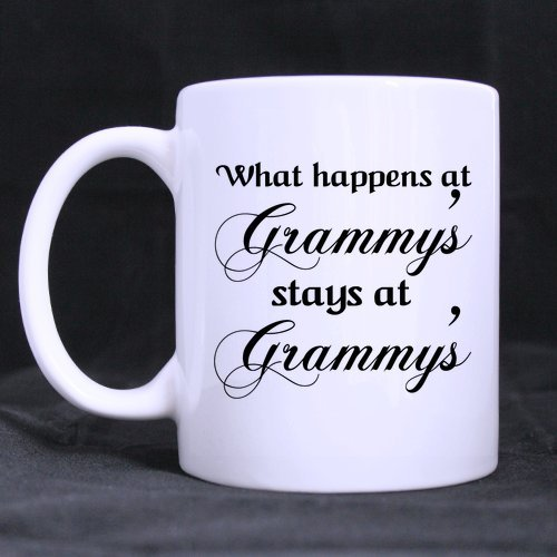Funny What Happens At Grammy'S Stays At Grammy'S Theme Coffee Mug or Tea Cup,Ceramic Material Mugs,White 11oz -
