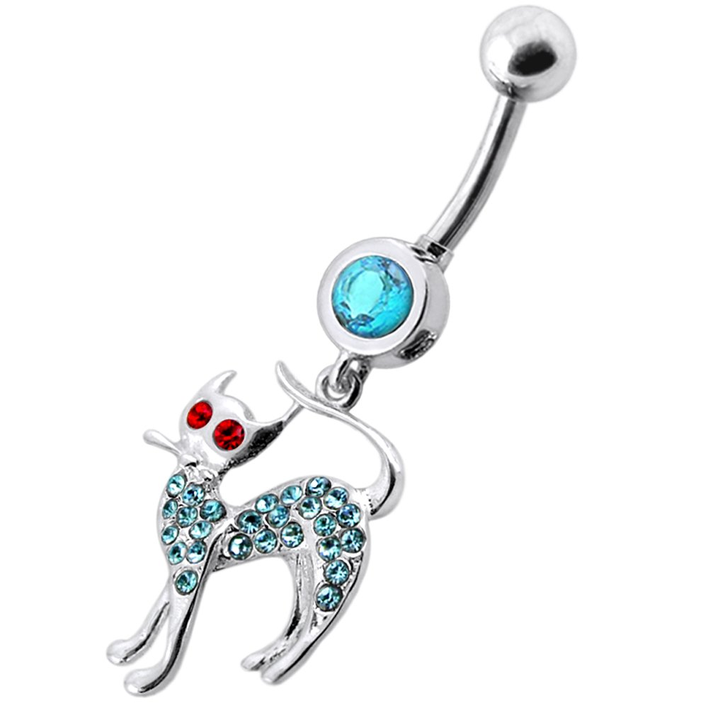 Multi Crystal Stone Cat Dangling 925 Sterling Silver Belly Button Piercing Ring Jewelry