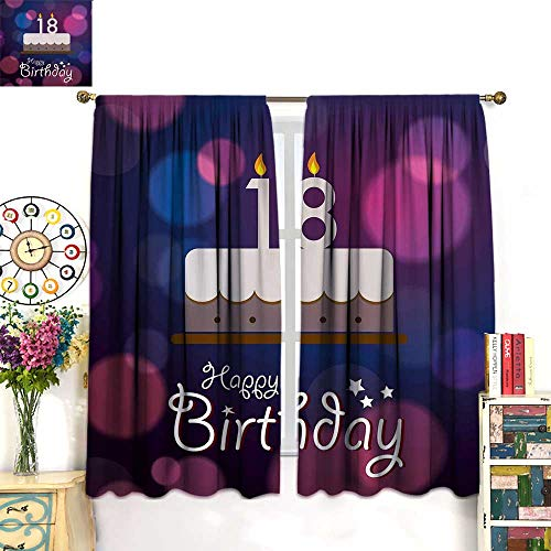 WinfreyDecor 18th Birthday Drapes for Living Room Cartoon Birthday Party Cake with Candles Vibrant Abstract BackdropBlackout curtainPurple and Lilac. W55 x L39