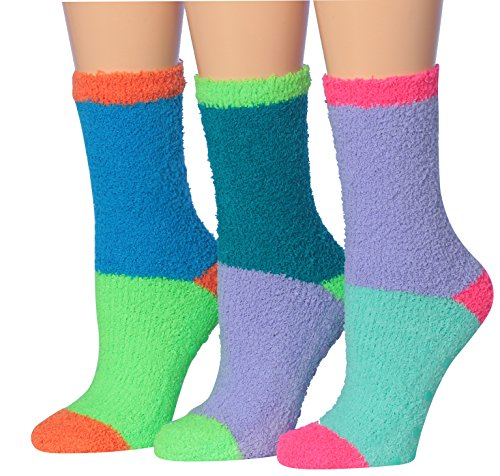 Tipi Toe Women's 3-Pairs ColorBlock Funky Ladies Anti-Skid Soft Fuzzy Winter Slipper Crew Socks, (sock size 9-11) Fits shoe size 6-9, FZ13-A