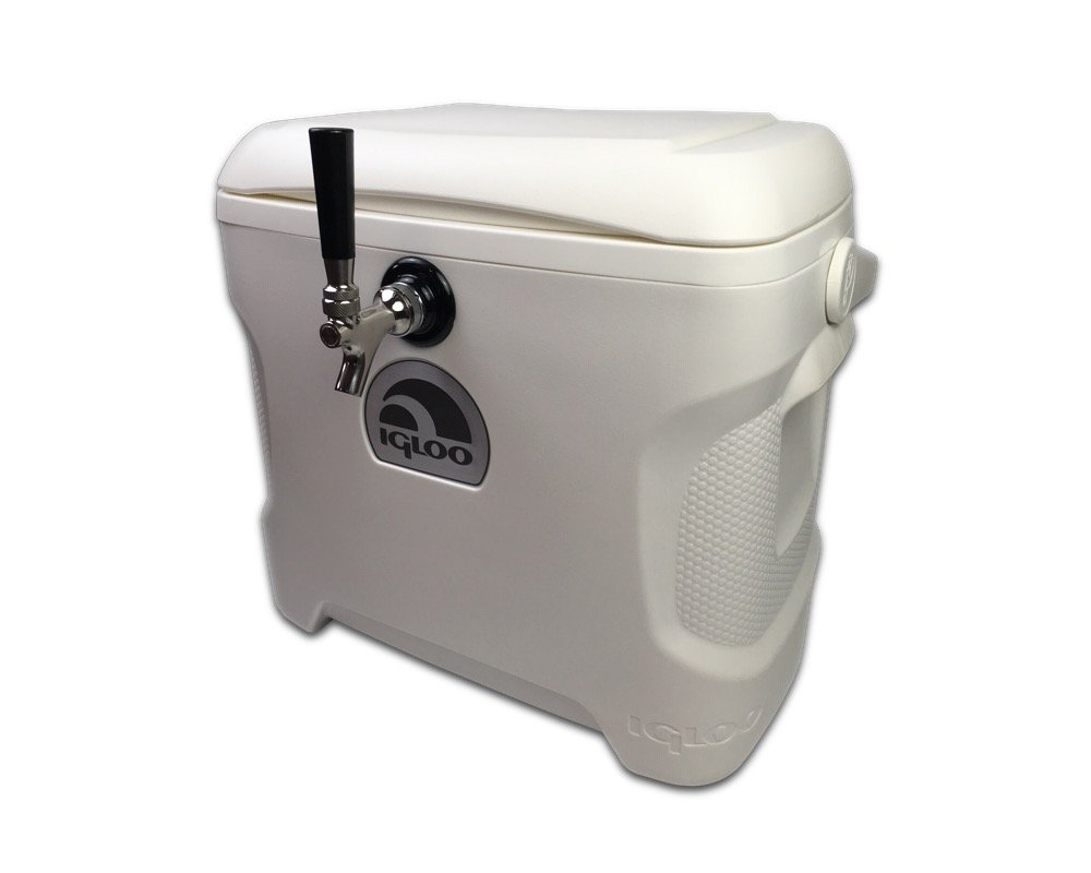 COLDBREAK Jockey Box, 1 Tap, Stainless Pass Through, 30 Quart Cooler, 50' Coil, Stainless Steel Shanks, Includes Stainless Faucet by Coldbreak