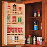 Century Components SRAS18PF Wood Door Mount Kitchen Spice Rack Organizer, 18''