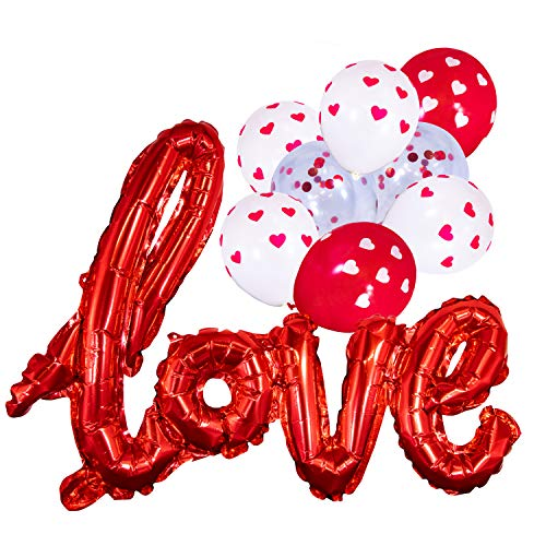 Love Balloon Red White Heart Confetti Room Decorations Kit Party Props Decor Balloons Valentines Day -