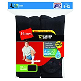 Hanes Men's 12-Pack FreshIQ Odor Control Protection Crew Socks