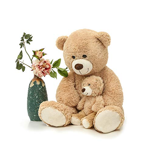 MorisMos Giant Teddy Bear Mommy and Baby Bear Soft Plush Bear Stuffed Animal for Mom and Child,Tan,39 Inches