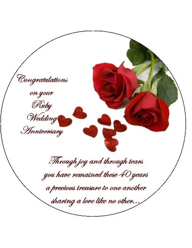 Ruby Wedding 40th Anniversary Edible Icing Cake Topper Circle 7 5 Inch Please Use The Send As A Gift Facility On The Checkout Page To Tell Us The