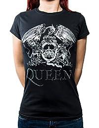 T Shirt Band Logo Diamante Official Womens Junior Fit Black