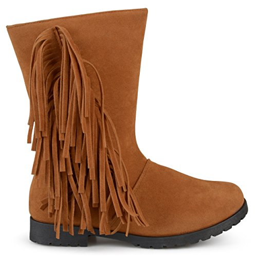 Brinley Kids Toddler Little Girl Fringed Round Toe Boots Chestnut 12 - Girls Fringed Boots