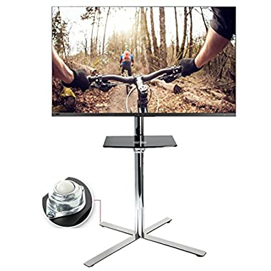 FLEXIMOUNTS C02 Stainless Mobile TV Cart LCD Stand for 32''-60'' 4K LCD LED Plasma Flat Panel Screen