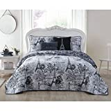 5 Piece Girls Black Grey I Love Paris Quilt King Set, Eiffel Tower Beeding France Inspired French Pattern Floral Flowers Artistic City of Love, Reversible Butterflies Microfiber Polyester