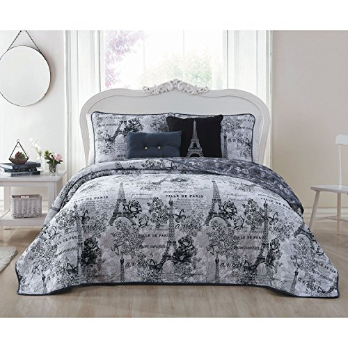 5 Piece Girls Black Grey I Love Paris Quilt King Set, Eiffel Tower Beeding France Inspired French Pattern Floral Flowers Artistic City of Love, Reversible Butterflies Microfiber Polyester by un