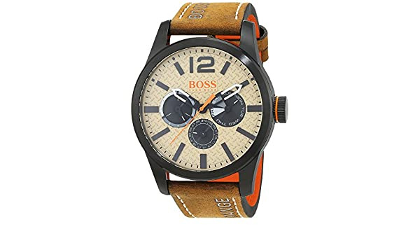 Amazon.com: Hugo Boss Orange Mens 44mm Brown Leather Band IP Steel Case Quartz Beige Dial Analog Watch 1513237: Watches