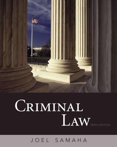 Criminal Law 10th edition by Samaha, Joel (2010) Hardcover