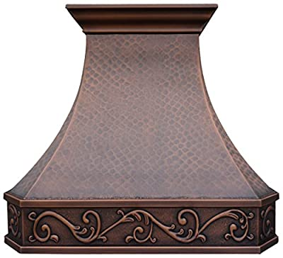 Copper Best Kitchen Range Hood with High Airflow Centrifugal Blower, Includes SUS 304 Liner (Vent Box) and Baffle Filter, Lighting and Switch, Embossed Custom Pattern Wall Mount 990cfm W42 x H36 inch