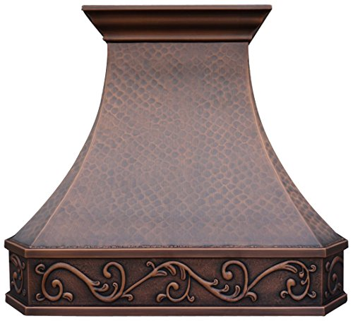 (Copper Best Kitchen Range Hood with High Airflow Centrifugal Blower, Includes SUS 304 Liner and Baffle Filter, High CFM Vent Motor, Wall/Island/Ceiling Mount, Width 30/36/42/48 in (W42