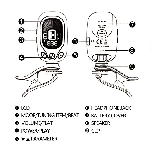 Electronic Tuner Clip On Chromatic Guitar Tuner For Acoustic Bass