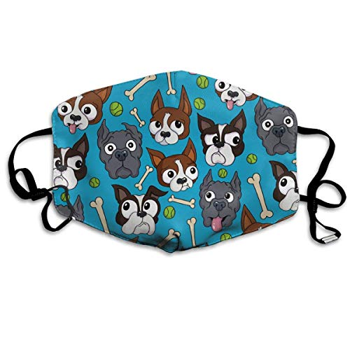 Boston Terriers Dog Bone Mask - Filters Dust, Pollen,Allergens, Cold & Flu Germs - Allergy Mask - Ideal for Airplane Travel, -