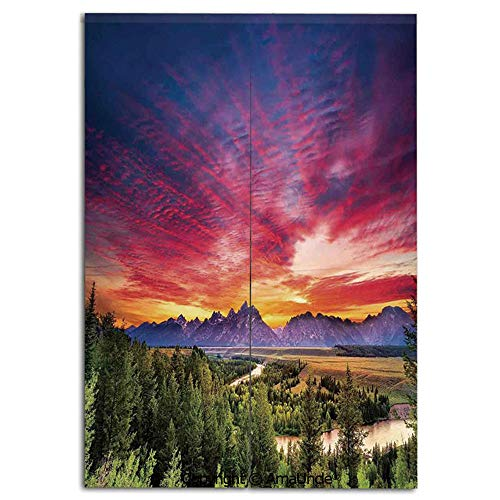 Cute Doorway Curtain Screen,Modern Room Divider Curtain,Colorful Skyline with Clouds in the Forest Lake River Mountain Landscape Sunburst(31.5x47.2 Inches),Hanging Curtain for Bedroom Living Room Kitc