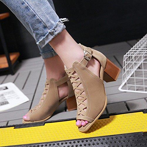 con scarpe con con spessore fibbia femminile sandali di bocca buco tacco Spessa ZHZNVX America pesce alto Europa bocca e primavera nuovo Black in scarpe pesce di fibbia open toe BqzwUxw5
