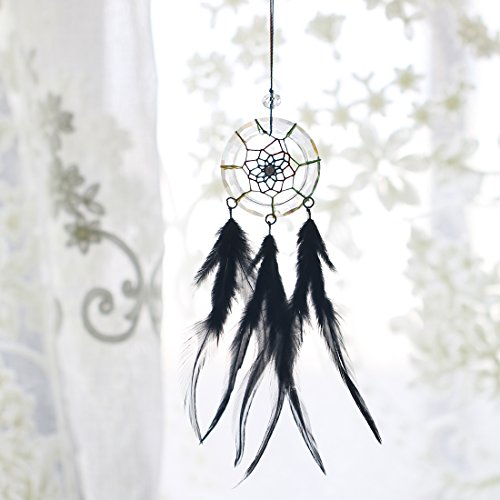 H&D Handmade Feather Dream Catcher Circular Net For Car Kids Bed Room Wall Hanging Decoration Decor Ornament Craft (black)