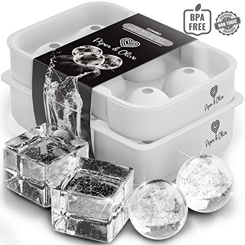 Piper and Olive Large Ice Cube Trays - Ice Ball Maker Mold with Lid - Combo - Set of 2]()