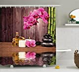 Ambesonne Spa Decor Shower Curtain Set, Spa Flower Water Reflection Aromatherapy Bamboo Blossom Candlelight, Bathroom Accessories, 69W X 70L Inches