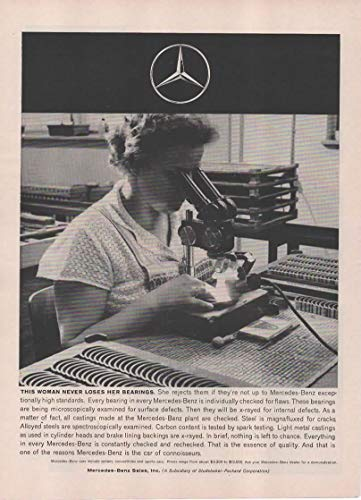 - Magazine Print Ad: 1960 Mercedes-Benz Car Factory Plant Germany, Microscope Quality Control Check of Bearings for Flaws,
