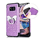 Cistor Glitter Case for Samsung Galaxy S8,Luxury Bling Diamond Sparkle Flash Powder Back Cover Shockproof Flexible Soft TPU Case with Butterfly Ring Holder Kickstand for Samsung Galaxy S8,Purple