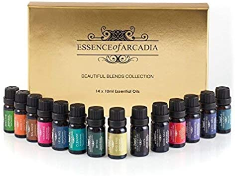 Esencia de lujo de la Arcadia Top 14 de aromaterapia aceites esenciales Mezcla set y Kit, Gran Aceite de Iniciación, caja de regalo de lujo.