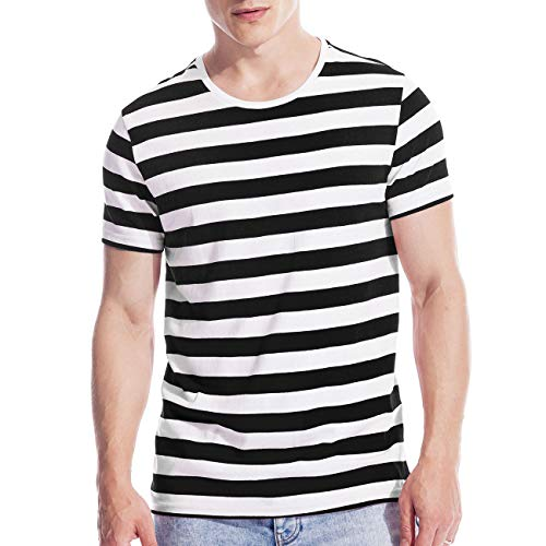 Make Skin Make Bone Mens Striped Shirt Basic Even Stripe Tee Basic Pattern T Shirt Black White XXXL