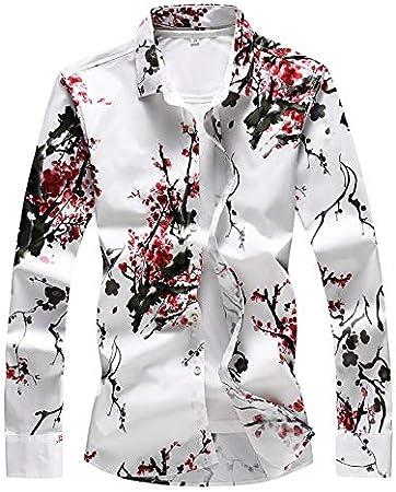 LULUDP-Camisetas de hombre Camisa floral de manga larga para hombres de estilo chino Cuello cuadrado