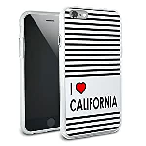 I Love Heart California Protective Slim Hybrid Rubber Bumper Case for Apple iPhone 6 6s
