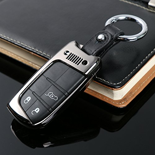 Zinc Alloy Remote Smart Key Fob Shell Cover Case Skin Protection Hull for Jeep Renegade (Black)