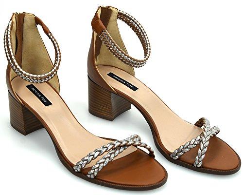 Tan para Patrizia Silver Zapato Tacón 2V6994 Art Pepe Cuoio Argento A2SR Plata DE Mujer Sandalias Cuero Z61xq6Xwr